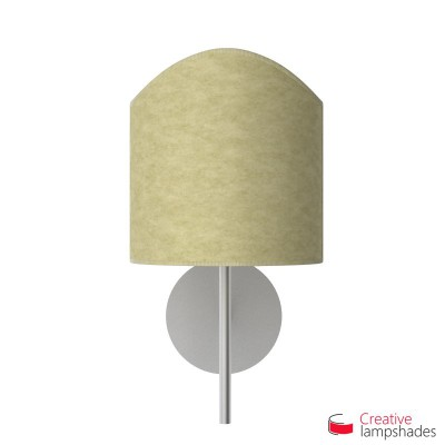 Scallop half cylinder lampshade for wall lamp Light Yellow Parchment covering