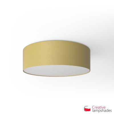 Round ceiling lamp with Pale Yellow Canvas covering