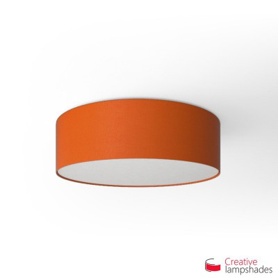 Round ceiling lamp with Orange Canvas covering