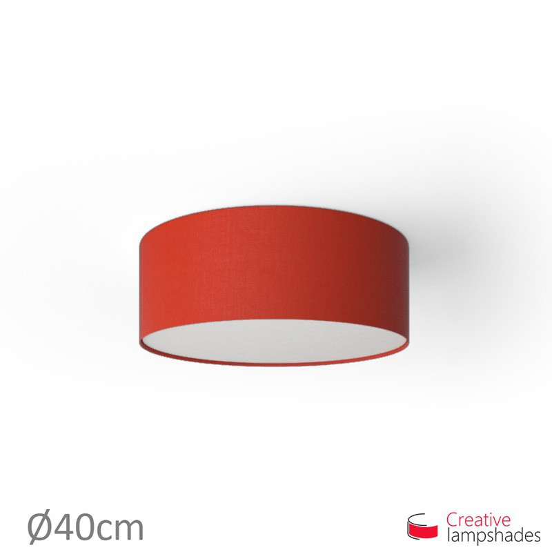 Round ceiling lamp with Red Canvas covering