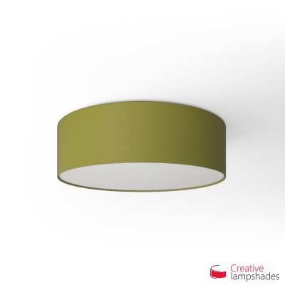 Round ceiling lamp with Olive Green Canvas covering