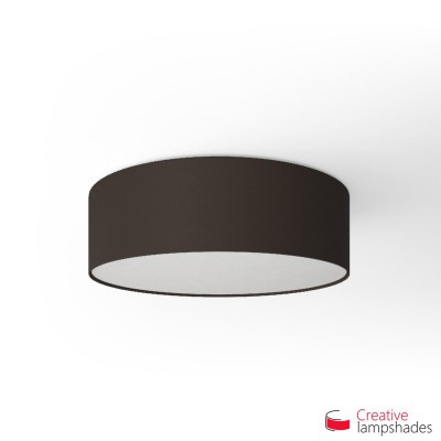 Round ceiling lamp with Brown Canvas covering