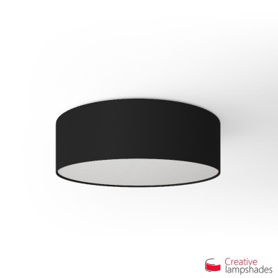 Round ceiling lamp with Black Canvas covering