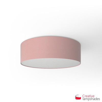 Round ceiling lamp with Antique Pink Cinette covering