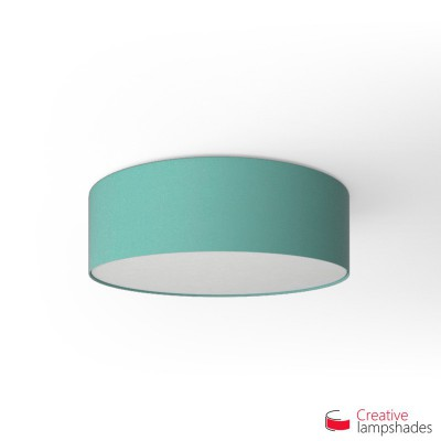 Round ceiling lamp with Turquoise Cinette covering