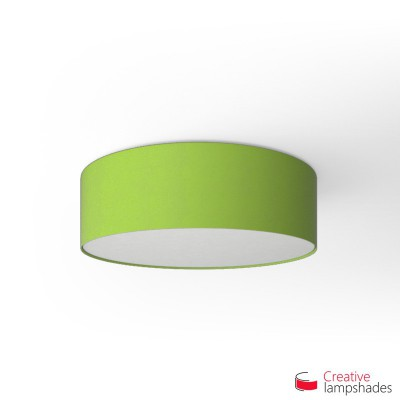 Round ceiling lamp with Pistachio Green Cinette covering