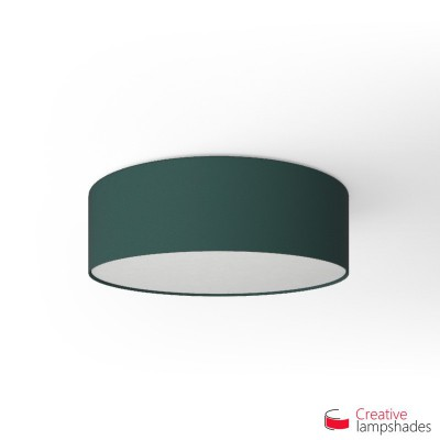 Round ceiling lamp with Petrol Blue Cinette covering