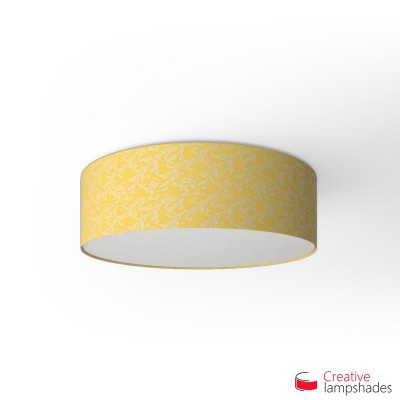 Round ceiling lamp with Golden Yellow Damascus covering