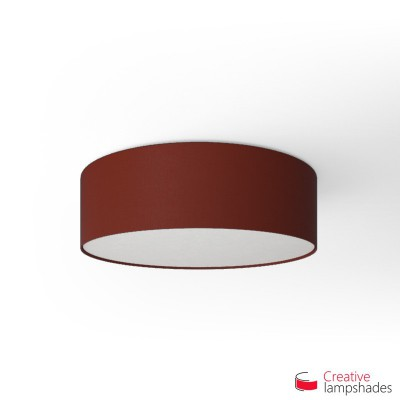Round ceiling lamp with Burgundy Canvas covering