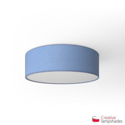Round ceiling lamp with Heavenly Blue Jute covering