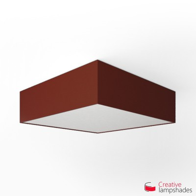 Square ceiling lamp with Burgundy Canvas cover
