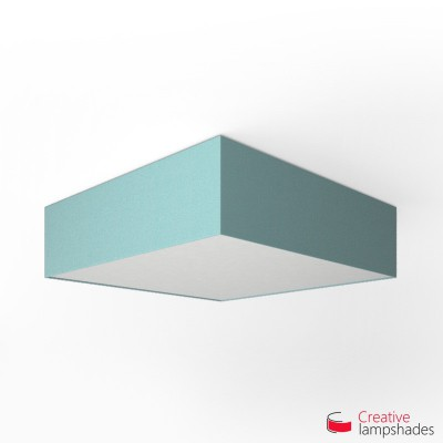 Square ceiling lamp with Heavenly Blue Cinette cover