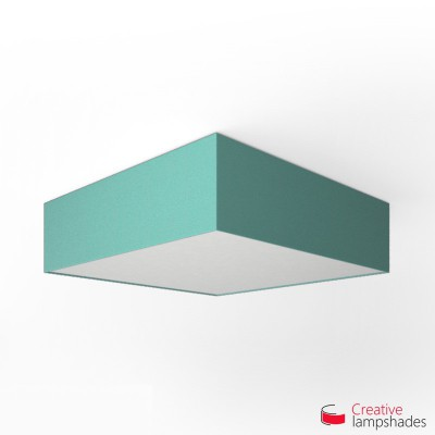 Square ceiling lamp with Turquoise Cinette cover