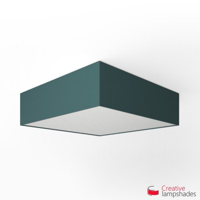 Square ceiling lamp with Blue Cinette cover