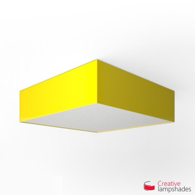 Square ceiling lamp with Yellow Lumiere cover
