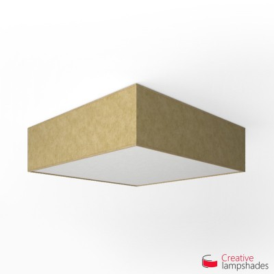 Square ceiling lamp with Yellow Parchment cover