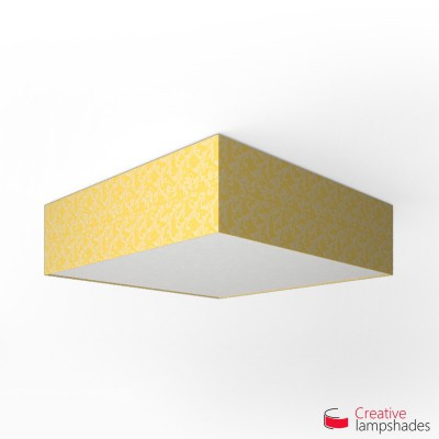 Square ceiling lamp with Golden Yellow Damascus cover