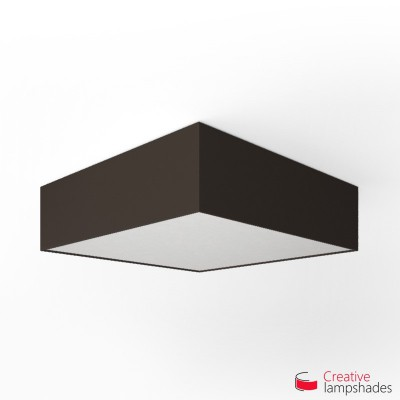 Square ceiling lamp with Brown Canvas cover