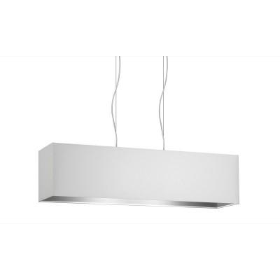 Lampenschirm Pendelleuchte rechteckige - 3 Punkt-Licht - Doppel-Gewebe Weiß Asche 99x24h25 Made in Italy!
