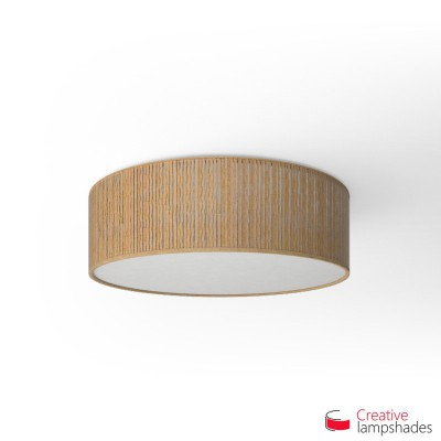 Round ceiling lamp with Yellow Plissé Organza covering
