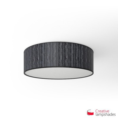 Round ceiling lamp with Black Plissé Organza covering
