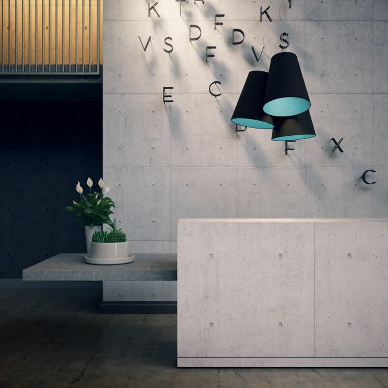 Triptychon Multi Kegel Pendelleuchte Lampenschirm – Aschegrau und hellblau