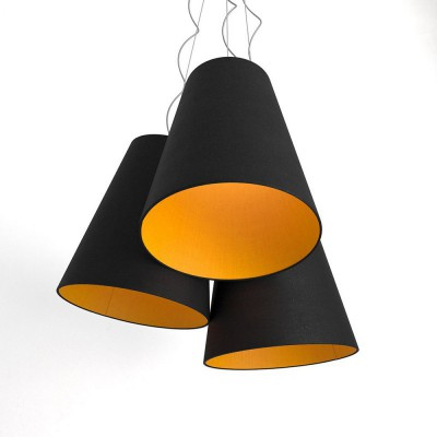 Trittico Multi-pendant Tri-cone lampshade -   black and mandarine orange