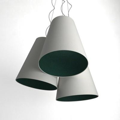 Trittico Multi-pendant Tri-cone lampshade - Sand and petrol blue