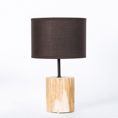 Natural wood table lamp. Basic line. Brown lampshade, diameter 18cm, h. 30cm.