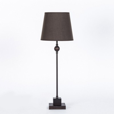 Metal and wood table lamp. Basic line. Brown lampshade, diameter 20cm, h. 59cm.