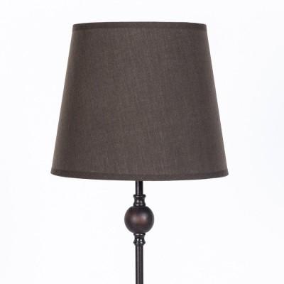Lampe de table en métal et bois. Ligne Basic. Abat-jour brun diam. 20 cm, h  59 cm.