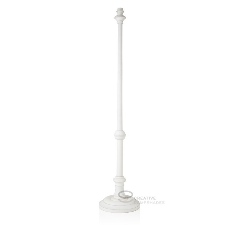 Floor Lamp Base Coated White Wood Power Supply E27 Fitting Max 60w