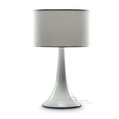 Thin base table-lamp in white ceramic, with white  canvas lampshade, E27 fitting, Max 60W