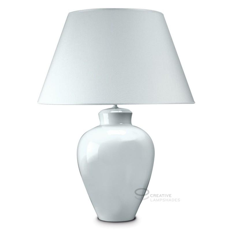 Tischleuchtenfuß rund aus keramik weiß mit Stofflampenschirm weiß mit Anschluss E27 Max 60W