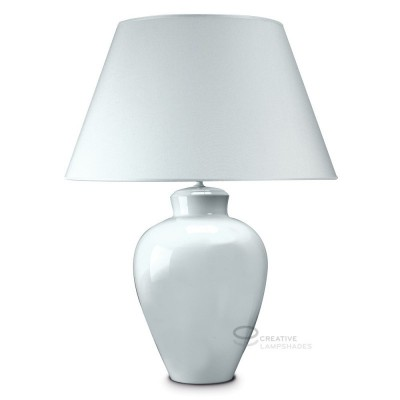 Roundish base table-lamp in white ceramic, with white  canvas lampshade, E27 fitting, Max 60W