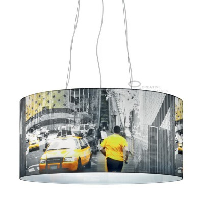 Complete Oversize pendant with three lights, New York City-Taxi giallo 3XE27 fitting Max 60W