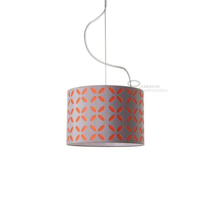 Complete pendant external in carved turtledove cotton and internal in varnished orange, E27 fitting Max 60W