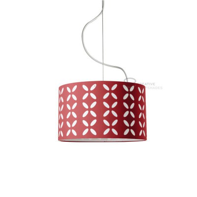 Complete pendant external in carved red cotton and internal in varnished white, E27 fitting Max 60W