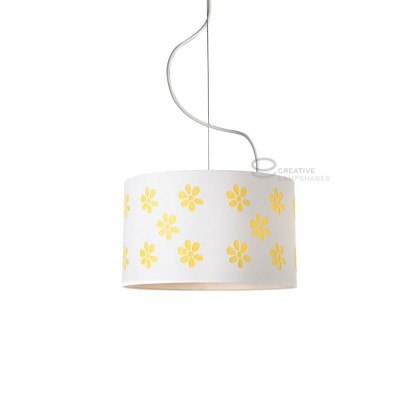 Complete pendant external in carved white cotton and internal in yellow cotton, E27 fitting Max 60W