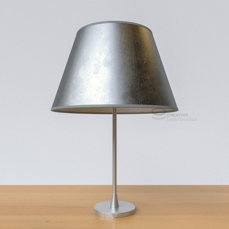 Empire Lamp Shade With Silver Leaf Covering