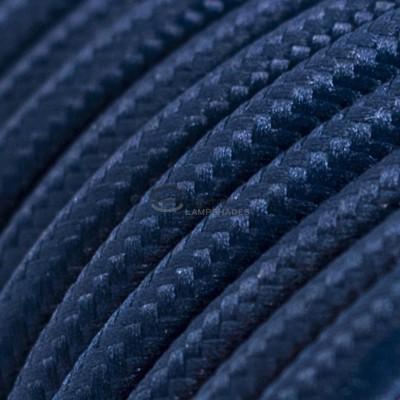 Pendel per paralume a sospensione con cavo tessile Effetto Seta Blu Scuro