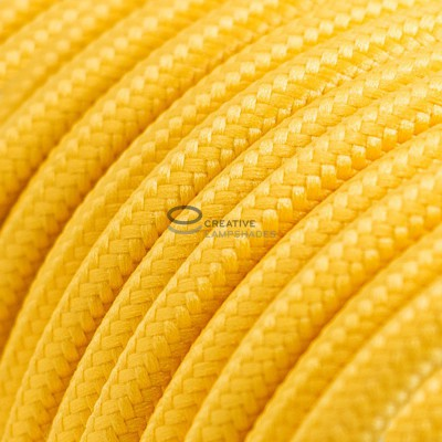 Pendant for suspended lampshade with Yellow Rayon textile cable