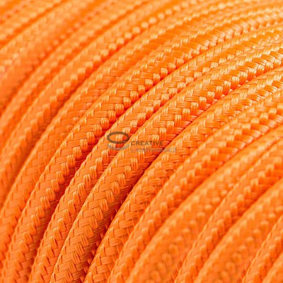 Pendant for suspended lampshade with Orange Rayon textile cable