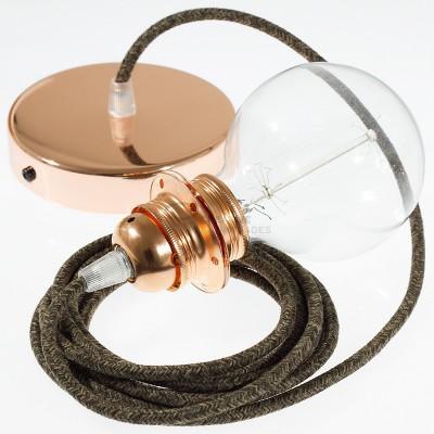 Pendel für Lampenschirm mit Braun natürlichem Leinen kabel