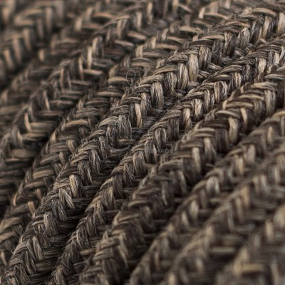 Pendel per paralume a sospensione con cavo tessile Lino Naturale Marrone