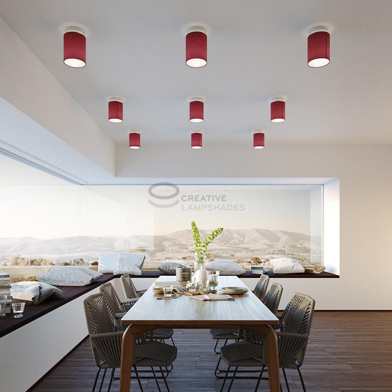 Fermaluce Wand-und-Deckenleuchte aus metall weiß mit zylindrischen Lampenschirm Leinwand Purpurrot, Ø 15cm h18cm