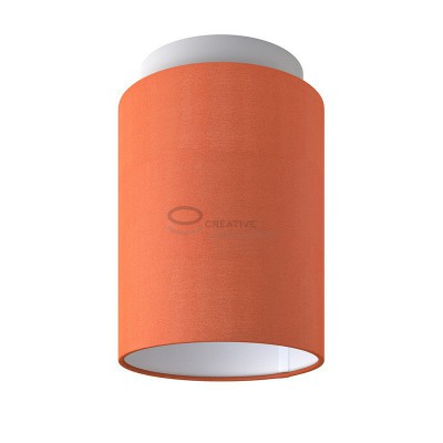 Fermaluce: wall or ceiling lightspot in white metal with Lobster Cinette Cylinder Lampshade Ø 15 cm h18 cm