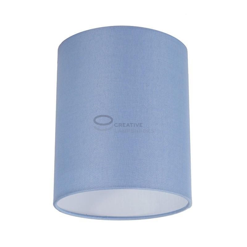 Fermaluce Wand-und-Deckenleuchte aus metall weiß mit zylindrischen Lampenschirm Leinwand Hellblau, Ø 15cm h18cm