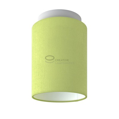 Fermaluce: wall or ceiling lightspot in white metal with Olive Green Canvas Cylinder Lampshade Ø 15 cm h18 cm