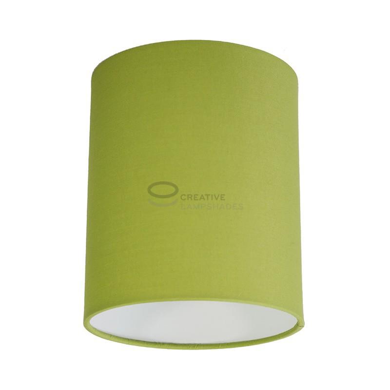 Fermaluce Wand-und-Deckenleuchte aus metall weiß mit zylindrischen Lampenschirm Leinwand Olivgrün Hell, Ø 15cm h18cm